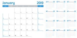 Ilustração 2019 do vetor do molde do planejador do calendário Imagem de Stock