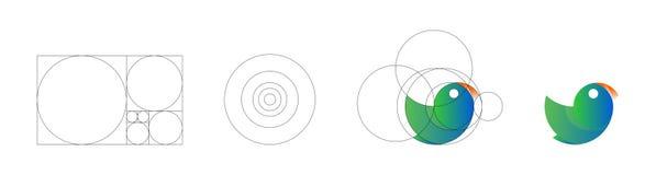 Ilustração do vetor do molde do projeto do logotipo do pássaro feito com princípios dourados da relação dos princípios da relação ilustração do vetor