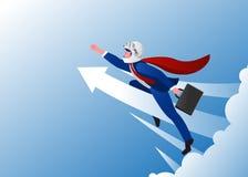 Ilustração do vetor do negócio do impulso O homem de mudanças do negócio voa em uma seta no céu ilustração do vetor