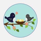 Ilustração do vetor no estilo liso Ninho e pássaros do ramo imagem de stock