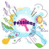 Ilustração do vetor no tema de vários interesses, passatempos, paixão dos povos Esporte, arte, bailado, skateboarding, montanhas, ilustração royalty free