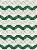 Ilustração do vetor Ornamento sem emenda linhas onduladas verdes e folhas douradas Fotografia de Stock Royalty Free