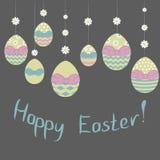 Ilustração do vetor Os ovos de Easterdecorative penduram na festão floral com frase feliz da Páscoa no fundo escuro Imagens de Stock Royalty Free