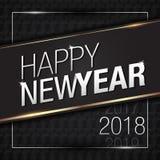 Ilustração do vetor do ouro 2018 do ano novo feliz com cores pretas do teste padrão Ilustração do Vetor