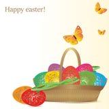 Ilustração do vetor Ovos coloridos em uma cesta de vime Fotografia de Stock Royalty Free