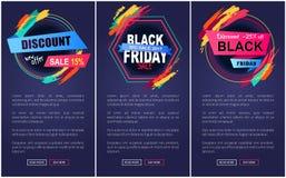 Ilustração do vetor do página da web de Black Friday do disconto Fotografia de Stock Royalty Free