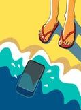 Ilustração do vetor Pés em um Sandy Beach perto do mar Foto de Stock