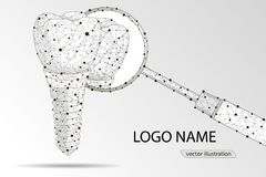 Ilustração do vetor para a clínica dental Implante dental Baixo projeto poli poligonal foto de stock