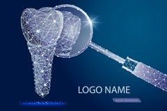 Ilustração do vetor para a clínica dental Implante dental Baixo projeto poli poligonal imagem de stock