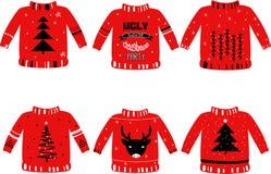 Ilustração do vetor para eventos do feriado como o partido feio da camiseta do Natal ilustração stock