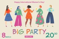 Ilustração do vetor para o cartão do convite ou bandeira para o partido do dia das mulheres com as meninas engraçadas com vidros  ilustração stock