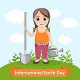 Ilustração do vetor para o Dia da Terra internacional A menina está guardando uma pá e uma lata molhando Plantou a árvore Imagens de Stock
