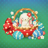 Ilustração do vetor para o feriado da Páscoa Coelho em uma cesta com flores e ovos Imagens de Stock Royalty Free