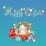 Ilustração do vetor para o feriado da Páscoa Coelho em uma cesta com flores e ovos Fotos de Stock