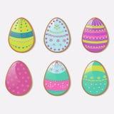 Ilustração do vetor para o feriado da Páscoa Um grupo de cookie dos ovos ilustração do vetor
