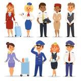 A ilustração do vetor pilota aeromoços ilustração stock