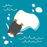 Ilustração do vetor do pinguim no estilo liso Fotos de Stock