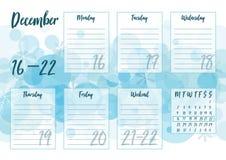 Ilustração do vetor do planejador semanal de dezembro de 2019 ilustração do vetor