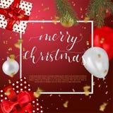 Ilustração do vetor do projeto do Natal Fundo do vintage com tipografia e elementos fotos de stock