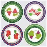 Ilustração do vetor 4 projetos decorativos circulares com desenhos no centro A decoração é ficada situada na borda do Fotografia de Stock