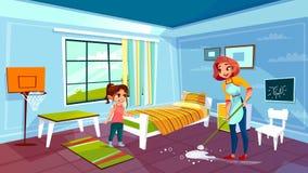 Ilustração do vetor do quarto desinfetado da mãe e da filha ilustração stock