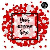 Ilustração do vetor do querido Cartão do `s do Valentim Corações do vetor no fundo branco Fotos de Stock Royalty Free