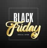 Ilustração do vetor: Rotulação 3D caligráfica dourada escrita à mão da oferta especial de Black Friday no fundo escuro ilustração do vetor