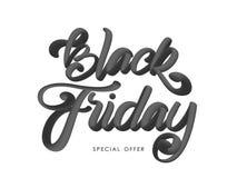 Ilustração do vetor: Rotulação 3D caligráfica escrita à mão de Black Friday no fundo branco ilustração royalty free