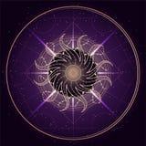 Ilustração do vetor do símbolo sagrado ou místico no fundo abstrato Sinal geométrico tirado nas linhas multicolored ilustração stock
