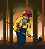 Ilustração do vetor do sapador-bombeiro do Wildland ilustração stock