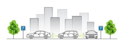 Ilustração do vetor do sensor do estacionamento do carro Imagem de Stock Royalty Free