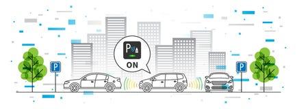Ilustração do vetor do sensor do estacionamento do carro com elementos coloridos Foto de Stock
