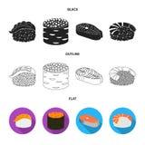 Ilustração do vetor do sinal do sushi e do arroz Coleção do símbolo de ações do sushi e do atum para a Web ilustração do vetor