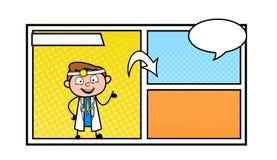 Ilustração do vetor do storyboard do doutor Presenting Empty Comic dos desenhos animados ilustração royalty free
