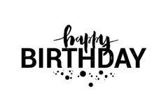Ilustração do vetor do título do feliz aniversario para o cartão, convite Escova que rotula a caligrafia ilustração stock