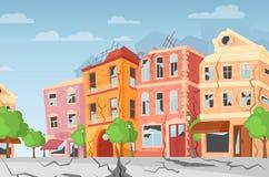 Ilustração do vetor do terremoto na cidade, fendas à terra Casas coloridas dos desenhos animados com quebras e danos naughty ilustração royalty free