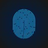 Ilustração do vetor Tome as impressões digitais a cor azul projetada para seu app, projeto do sinal do ux Fotografia de Stock Royalty Free