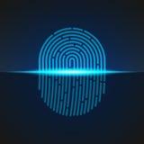 Ilustração do vetor Tome as impressões digitais a cor azul projetada para seu app, projeto do sinal do varredor do ux Imagem de Stock