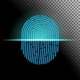 Ilustração do vetor Tome as impressões digitais a cor azul projetada para seu app, projeto do sinal transparente do varredor do u Fotos de Stock Royalty Free