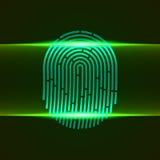 Ilustração do vetor Tome as impressões digitais a cor verde projetada para seu app, projeto do varredor dobro do ux Foto de Stock Royalty Free