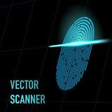 Ilustração do vetor Tome as impressões digitais o varredor, cor azul, perspectiva 3d com malha Hacker, segurança, conceito dos da Imagem de Stock