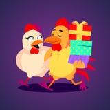 Ilustração do vetor Um galo de sorriso e umas caixas de presente levando da galinha no estilo engraçado dos desenhos animados Imagem de Stock Royalty Free