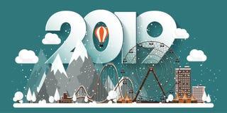 Ilustração do vetor uma paisagem urbana de 2019 invernos Cidade com neve Natal e ano novo Arquitetura da cidade com construções e ilustração royalty free