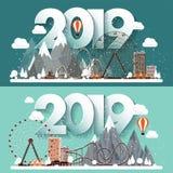 Ilustração do vetor uma paisagem urbana de 2019 invernos Cidade com neve Natal e ano novo Arquitetura da cidade com construções e ilustração stock