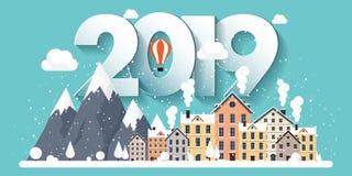 Ilustração do vetor uma paisagem urbana de 2019 invernos Cidade com neve Natal e ano novo Arquitetura da cidade com construções e ilustração do vetor