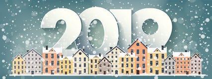 Ilustração do vetor uma paisagem urbana de 2019 invernos Cidade com neve Natal e ano novo Arquitetura da cidade com construções ilustração stock