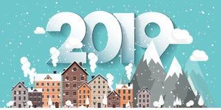 Ilustração do vetor uma paisagem urbana de 2019 invernos Cidade com neve Natal e ano novo Arquitetura da cidade com construções ilustração royalty free