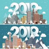 Ilustração do vetor uma paisagem urbana de 2019 invernos Cidade com neve Natal e ano novo Arquitetura da cidade com construções ilustração do vetor
