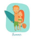 Ilustração do vetor verão Personagens de banda desenhada Foto de Stock Royalty Free