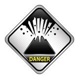 Ilustração do vetor do vulcão Sinal do perigo Imagens de Stock